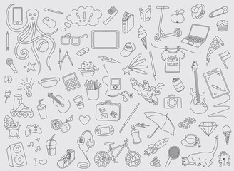 A vector  children and teen school comic pattern of hand drawn doodles of electronic gadgets. Computer, laptop, monitor
