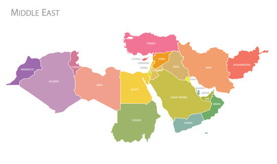 Map of Middle East. Wall mural