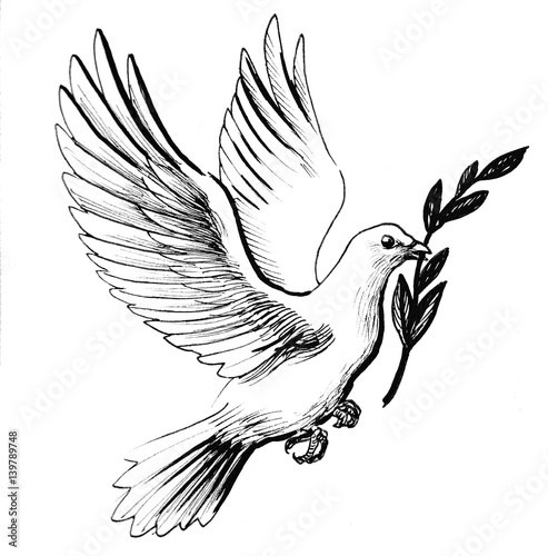 Flying White Dove With Olive Branch As A Symbol Of Peace Retro