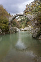 historic Annibale bridge on titerno river matese park