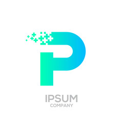 Letter P Pixel logo, Plus sign logo, Medical healthcare hospital symbol, Technology and digital logotype