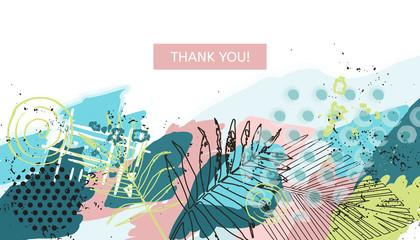 Tropical style universal floral header. Modern graphic design. Hand Drawn creative textures. Web, poster, invitation, brochure, business card design idea. Vector illustration.