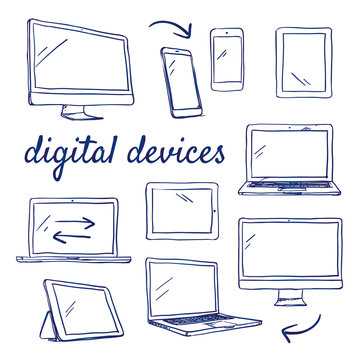 Doodle set of digital devices - computer, desktop, tablet, smart phone, touch, hand-drawn. Vector sketch illustration isolated over white background.