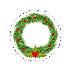 christmas wreath red berries leaves vector illustration eps 10