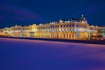 Winter Palace a February night. Saint-Petersburg,  Russia