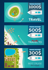 Travel voucher. Travel to Paradise. Vector flat illustration.
