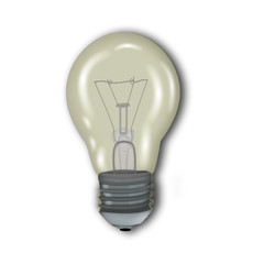 glowing glass light bulb isolated on white background .icon