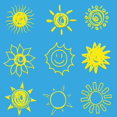 Hand drawing. Doodle. A set of sun. For your design....