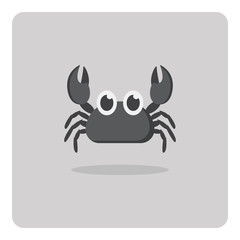 Vector of flat icon, Cute crab on isolated background
