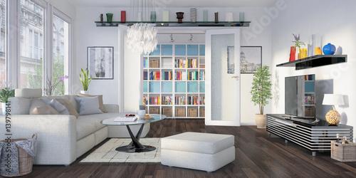 modern eingerichtete altbauwohnung am prenzlauer berg in berlin wohnzimmer zdj stockowych. Black Bedroom Furniture Sets. Home Design Ideas