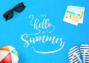 Simple Say Hello to Summer Lettering in Blue Background with Sunglasses and Picture Vector Illustration