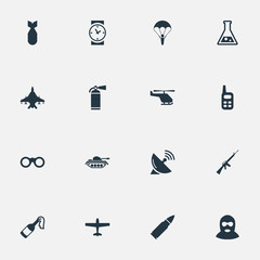 Vector Illustration Set Of Simple Army Icons. Elements Paratrooper, Watch, Heavy Weapon And Other Synonyms Flask, Watch And Weapon.