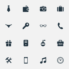Vector Illustration Set Of Simple Accessories Icons. Elements Fragrance, Business Bag, Mobile Phone And Other Synonyms Deodorant, Photographing And Computer.