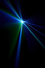 Laser beam blue on a black background