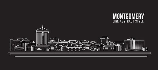 Cityscape Building Line art Vector Illustration design - Montgomery city