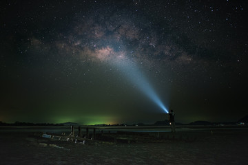 A man light up to sky under milkyway