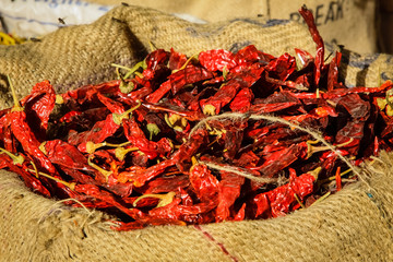 Bag of dried red Chilies on a market  in Jodhpur, Rajasthan, India