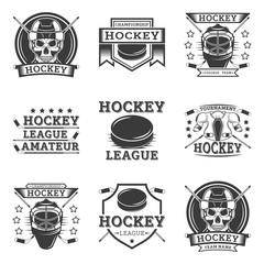 Hockey set of vector vintage logos