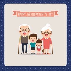 Grandparents and grandchildren. Happy grandparents with their grandchildren taking a walk. Grandparents' Day!