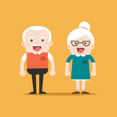 Retired elderly senior age couple in creative flat vector character design | Grandpa and grandma standing full length smiling