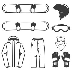 Winter sport, snowboards and equipment set of vector black design elements, objects, symbols isolated on white background