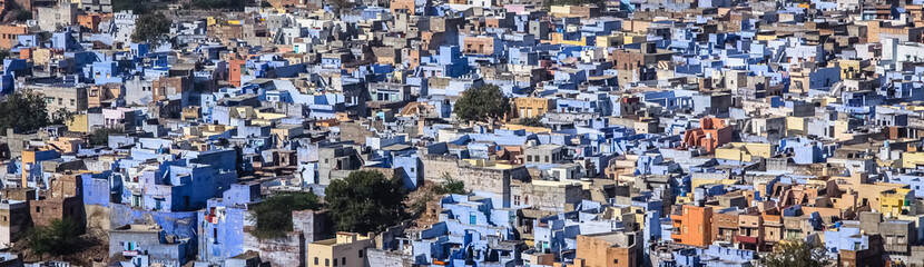"Panoramic aerial view of the ""Blue city"" Jodhpur from Mehrangarh Fort, Jodhpur, Rajasthan, India"