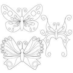 Butterfly isolated outlines book coloring character