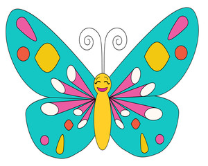 Butterfly coloring isolated multi-colored character