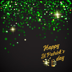 Happy St. Patrick Day lettering background with glitter clover