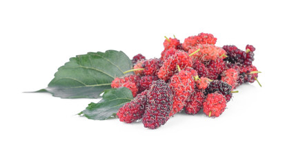 fresh organic mulberries with green berry leaf on white background.