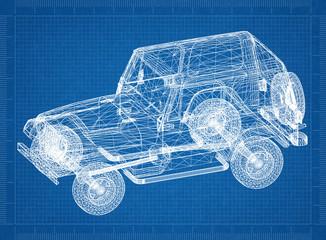 Car blueprint – 3D perspective