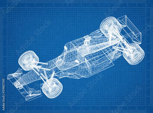 Sport race car blueprint 3d perspective stock photo and royalty sport race car blueprint 3d perspective malvernweather Images