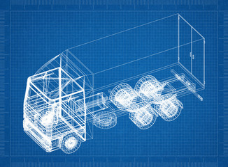 Truck blueprint – 3D perspective
