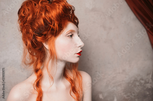 A Woman With Red Hair In A Red Dress Red Haired Girl With