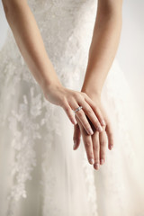 Wedding ring on newlywed, close up
