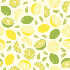 lemons and limes seamless background vector pattern