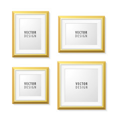 Set of Realistic Minimal Isolated Yellow Frame on White Background for Presentations . Vector Elements