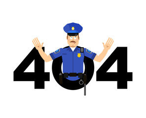 Error 404. Policeman surprise. Page not found template for web site. Cop does not know and is surprised. Page lost and found message.