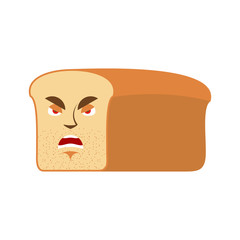 Bread angry Emoji. piece of bread Aggressive emotion isolated
