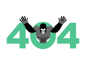 Error 404. monkey surprise. Page not found template for web site. gorilla does not know and is surprised. Page lost and found message. problem disconnect