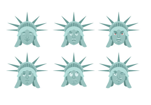 Statue of Liberty emoji. emotion set. Aggressive and good US landmark statue face. Surprised and sleep. USA avatar collection