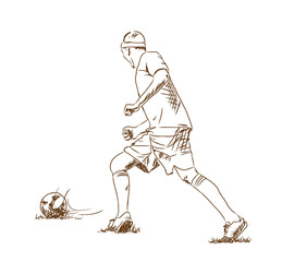 Sketch of Football player in vector illustration.