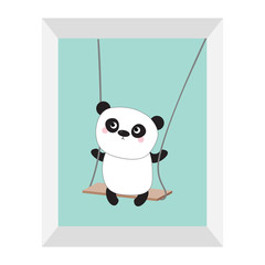 Panda ride on the swing. Cute fat cartoon character. Kawaii baby collection. Picture frame. Love card. Flat design. Funny kids style. Blue sky background. Isolated.