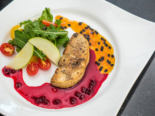 Foie Gras with Pomegranate and Passion Fruit Sauce