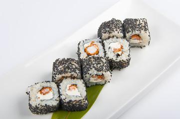 sushi roll with shrimp, Philadelphia cheese sesame seeds