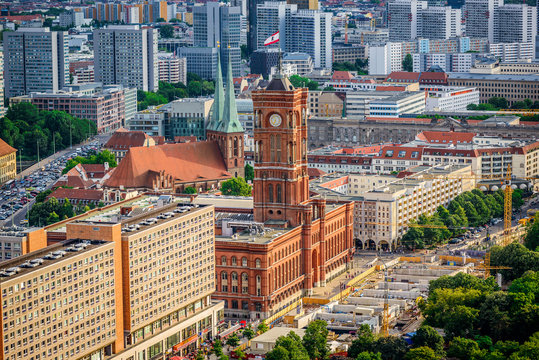 Rotes Rathaus (Red City Hall), located in the Mitte district near Alexanderplatz in Berlin, Germany, Europe, aerial view