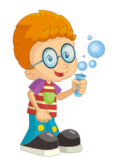 cartoon child standing having fun with science isolated illustration for children