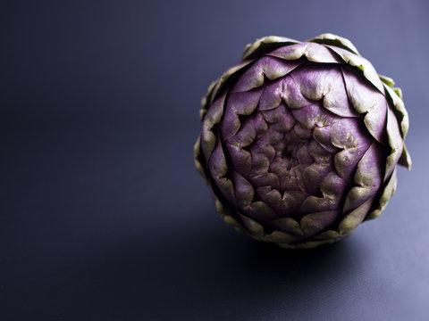 Fresh globe artichoke isolated on dark background