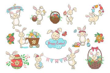 Set of cute Easter bunnies.