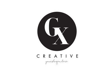 GX Letter Logo Design with Black Circle and Serif Font.